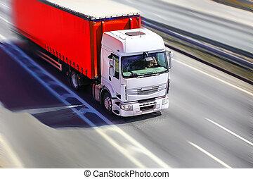 lastbil, flyttningar, på, motorväg