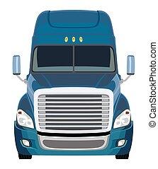 lastbil, främre del, blå