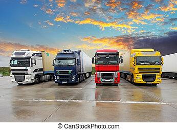 lastbil, -, fragt transport