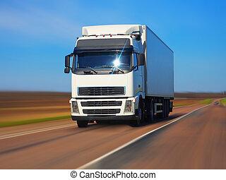 lastbil, fragt, vej
