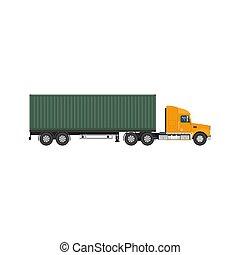 lastbil, frakt, grön, behållare, isolerat