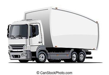 lastbil, frakt, tecknad film, leverans, eller