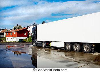 lastbil, gaderne, i, en, lille by, efter, den, regn