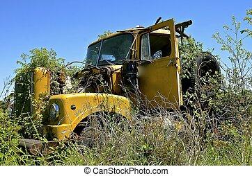 lastbil, gammal, övergiven, ogräsen