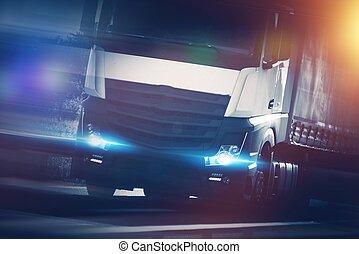 lastbil, halv-, fortkörning