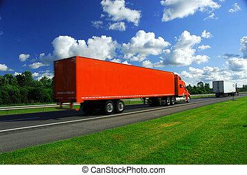 lastbil, hastighet, motorväg