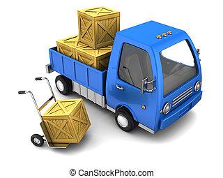 lastbil, hos, crates
