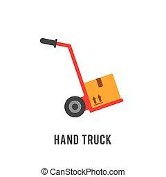 lastbil, illustration, hand