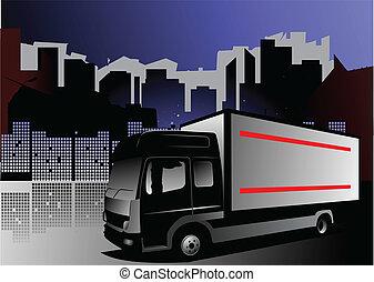 lastbil, illustration, vektor