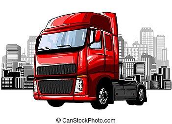 lastbil, isolerat, avskräde, vektor, vit, bakgrund., tecknad film