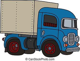 lastbil, klassisk, blå