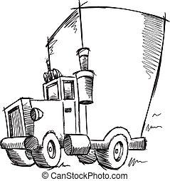 lastbil, klotter, illustration, skiss
