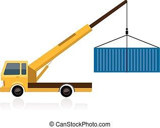 lastbil, kran, behållare