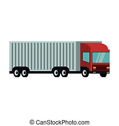 lastbil, last behållare, isolerat, släpvagn