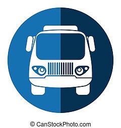 lastbil, lille, last, transport, blå, cirkel