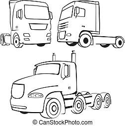 lastbil, -, lorry, ikon