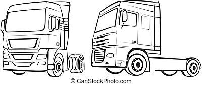 lastbil, lorry, silhuett, -
