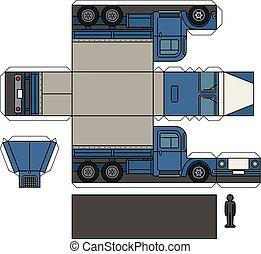 lastbil, modell, papper, gammal