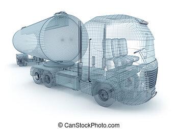 lastbil, olja, behållare, frakt