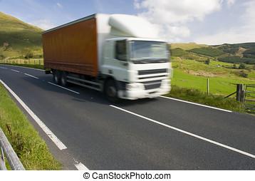 lastbil, på, den, alpin väg