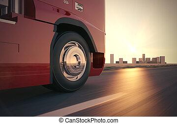 lastbil, på, den, road.