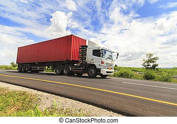 lastbil, på, hovedkanalen
