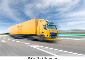 lastbil, på, motorväg