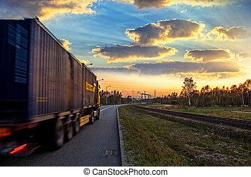 lastbil, på, vej