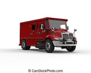 lastbil, pansrad, transport, röd