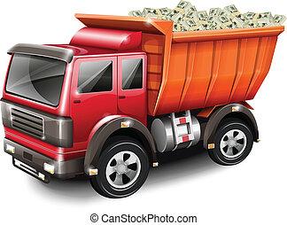 lastbil, pengar