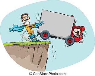 lastbil, rädda