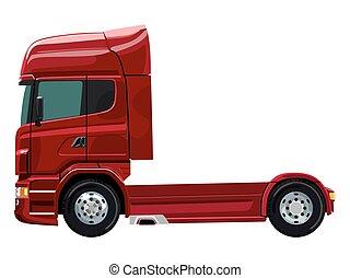 lastbil, röd