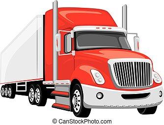 lastbil, röd, halv-