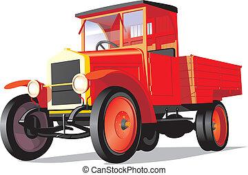 lastbil, retro, röd