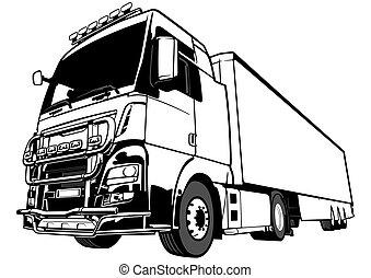 lastbil, rigg, lorry, svart, stor, vit