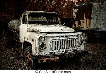 lastbil, rostig, veder, gammal, övergiven