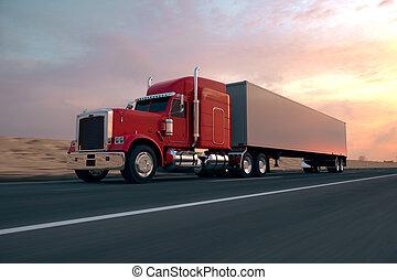 lastbil, semi-trailer