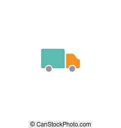 lastbil, silhouette., leverans, skissera, isolerat, blå, vektor, ikon, skeppning
