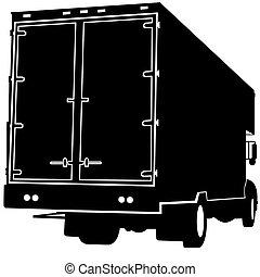 lastbil, silhuett, baksidaen beskådar
