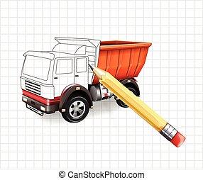 lastbil, skiss, vektor, illustra