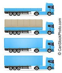 lastbil, släpvagn, illustration, halv-