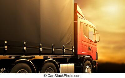 lastbil, solnedgång, röd