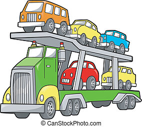lastbil, stor, illustration, vektor