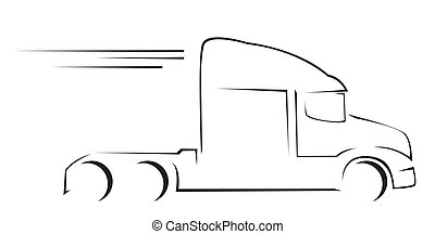 lastbil, symbol, vektor, illustration