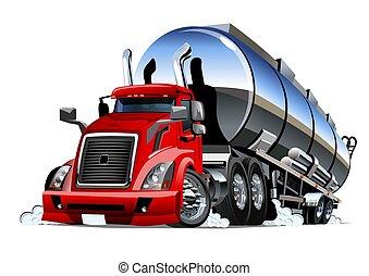lastbil, tankfartyg, tecknad film, vit, halv-, bakgrund, isolerat