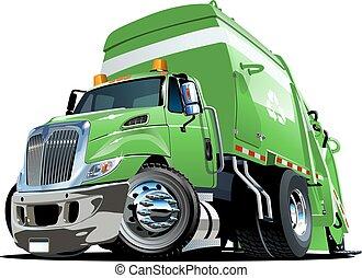 lastbil, tecknad film, avskräde