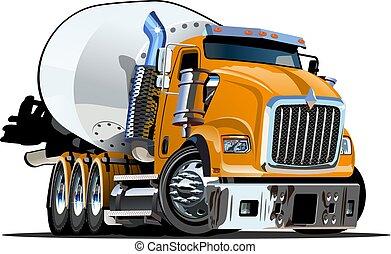 lastbil, tecknad film, blandare