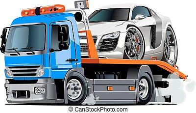 lastbil, tecknad film, bogsera