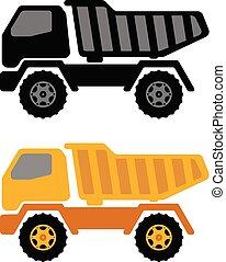 lastbil, tippvagn, illustration