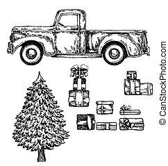lastbil, træ, glade, gaver., jul, år, nye, gaver